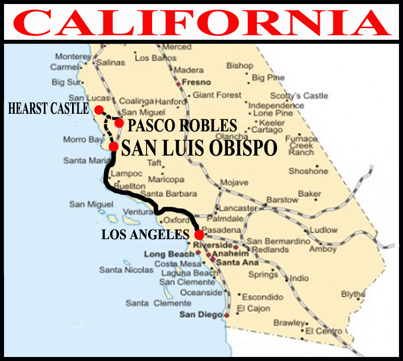 Hearst Castle California Map.Hearst Castle National Parks West And Byways Of California And