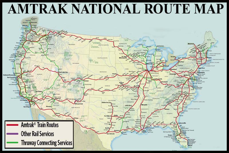 National Train Route Guide And Railway Information Directory - Amtrak map of routes in us