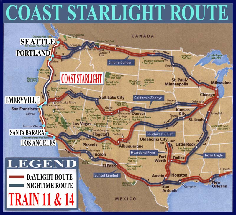 Coast starlight train number 11 14 maps guide and railway coast starlight route enlarge map publicscrutiny Gallery