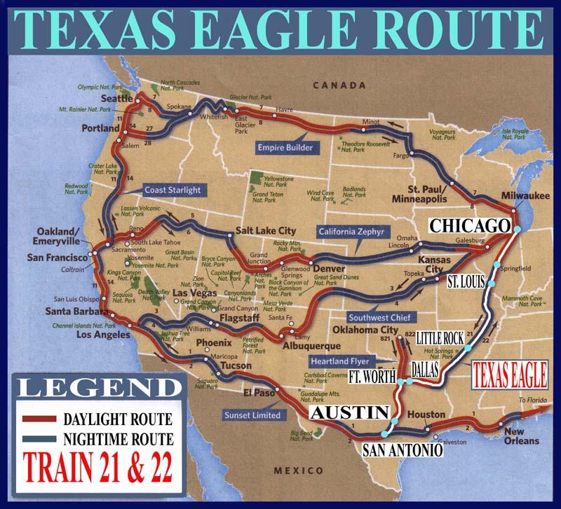 Le Amtrak Texas Eagle Route Map