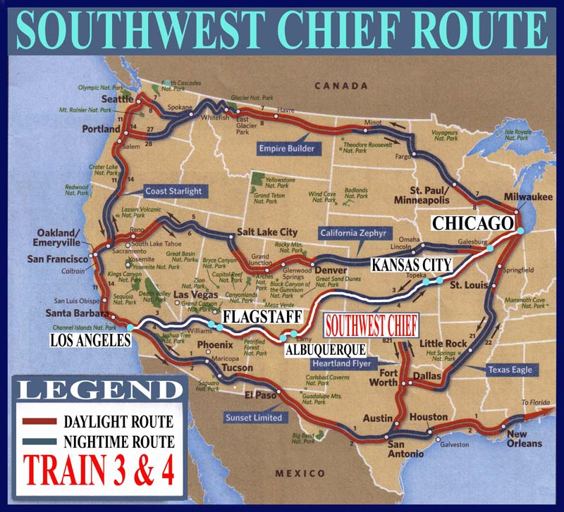 Southwest Chief Train Number 3 Amp 4 Maps Guide And Railway
